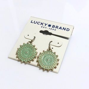 Lucky Brand Green Medallion Drop Earrings